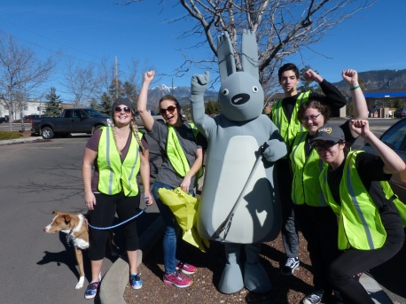 Community Stewards volunteers with Albert the Abert Squirrel
